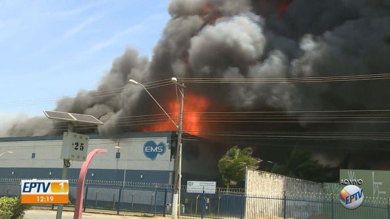 Incêndio atinge indústria farmacêutica EMS em Hortolândia