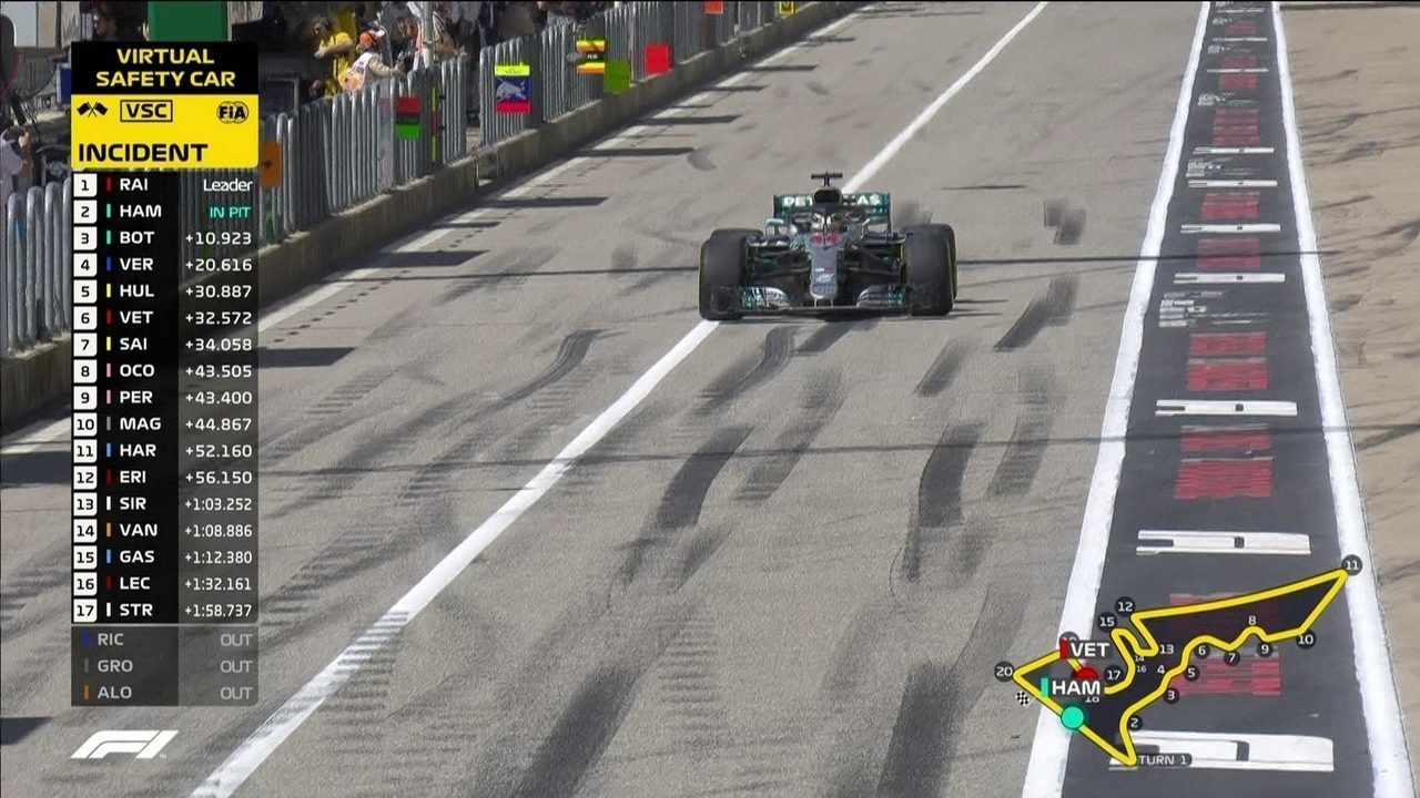 Lewis Hamilton vai para os boxes e volta em terceiro na frente de Vestappen