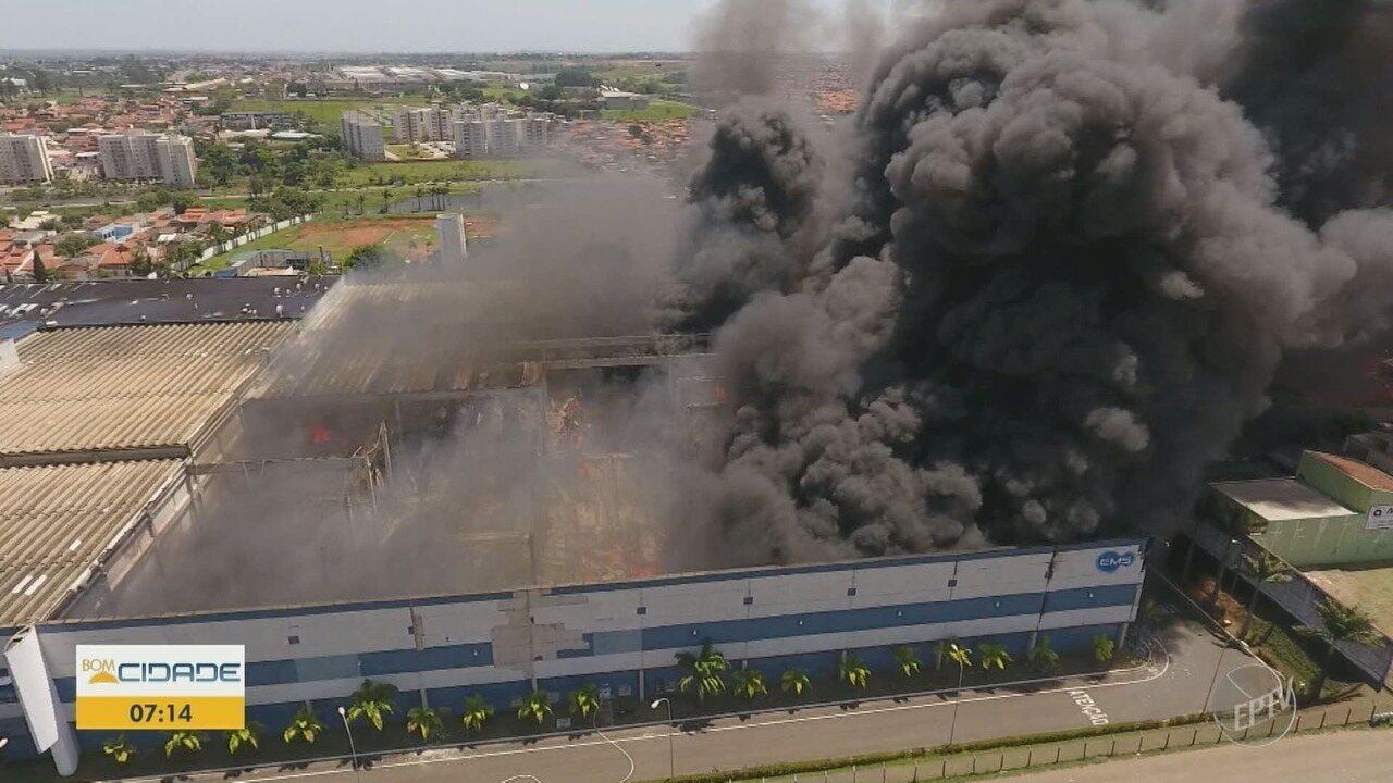 Defesa Civil deve fazer vistoria na fábrica da EMS, que foi atingida por incêndio