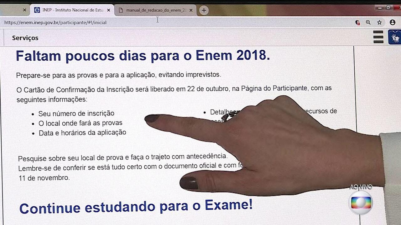 Inep disponibiliza nesta segunda-feira (22) o cartão da prova do Enem