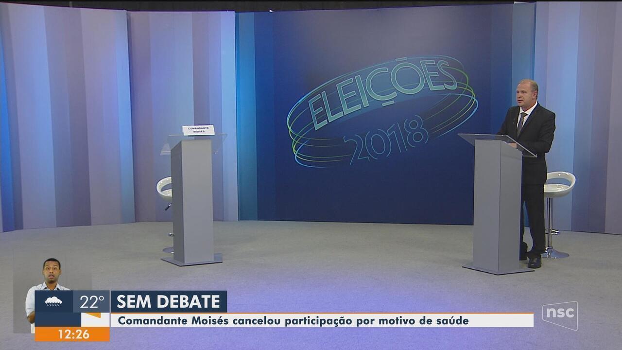 Com ausência de Comandante Moisés no debate, Gelson Merísio é entrevistado ao vivo na NSC