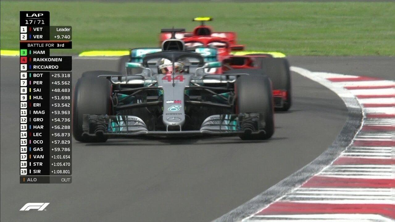 Hamilton ultrapassa Raikkonen durante o GP do México