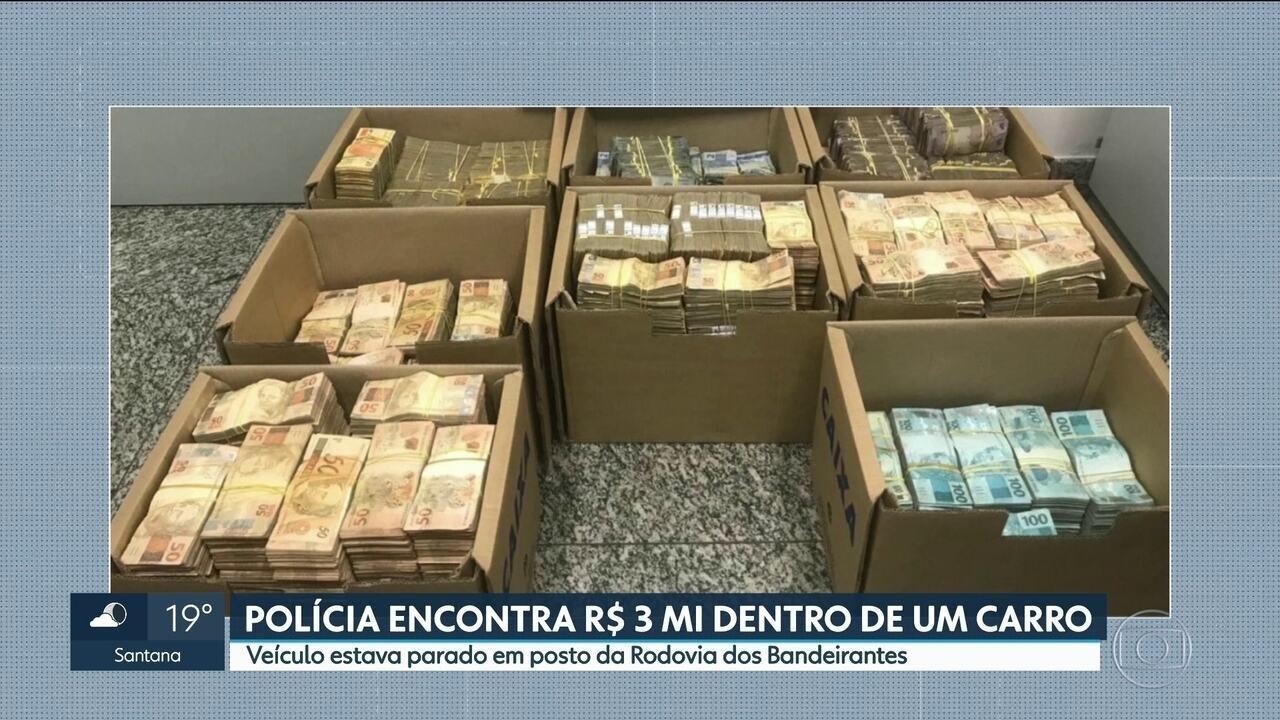 Polícia encontra R$ 3 milhões em carro na rodovia dos Bandeirantes, em Jundiaí