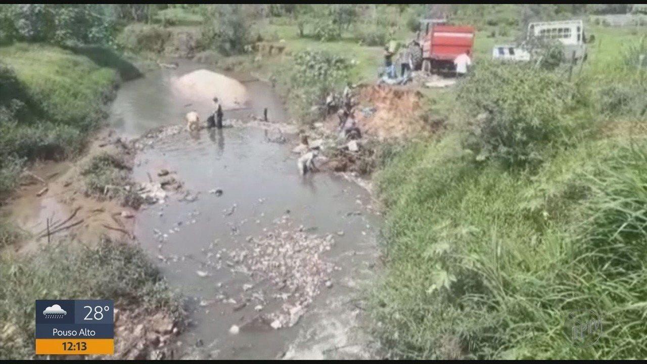 Mais de meia tonelada de lixo é retirada do Ribeirão Ouro Fino