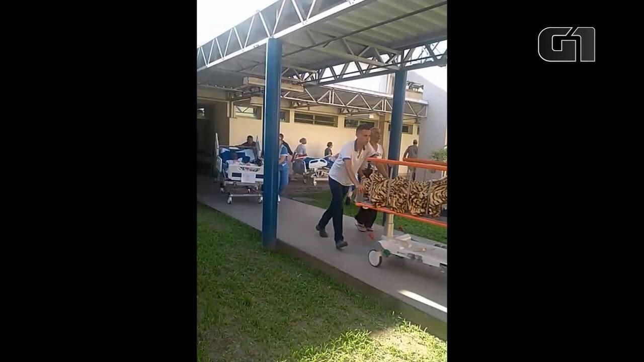 Imagens mostram momento da transferência de pacientes durante o incêndio no Lourenço Jorge