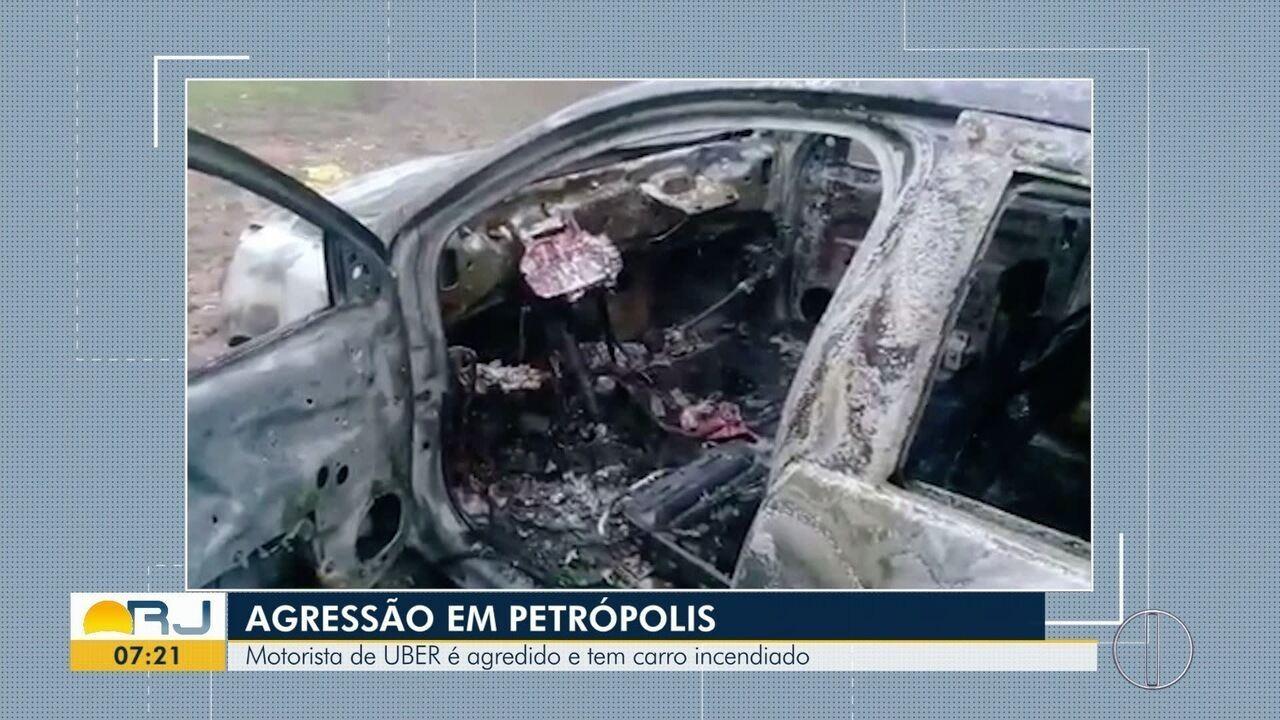 Motorista de aplicativo é agredido e tem o carro incendiado em Petrópolis