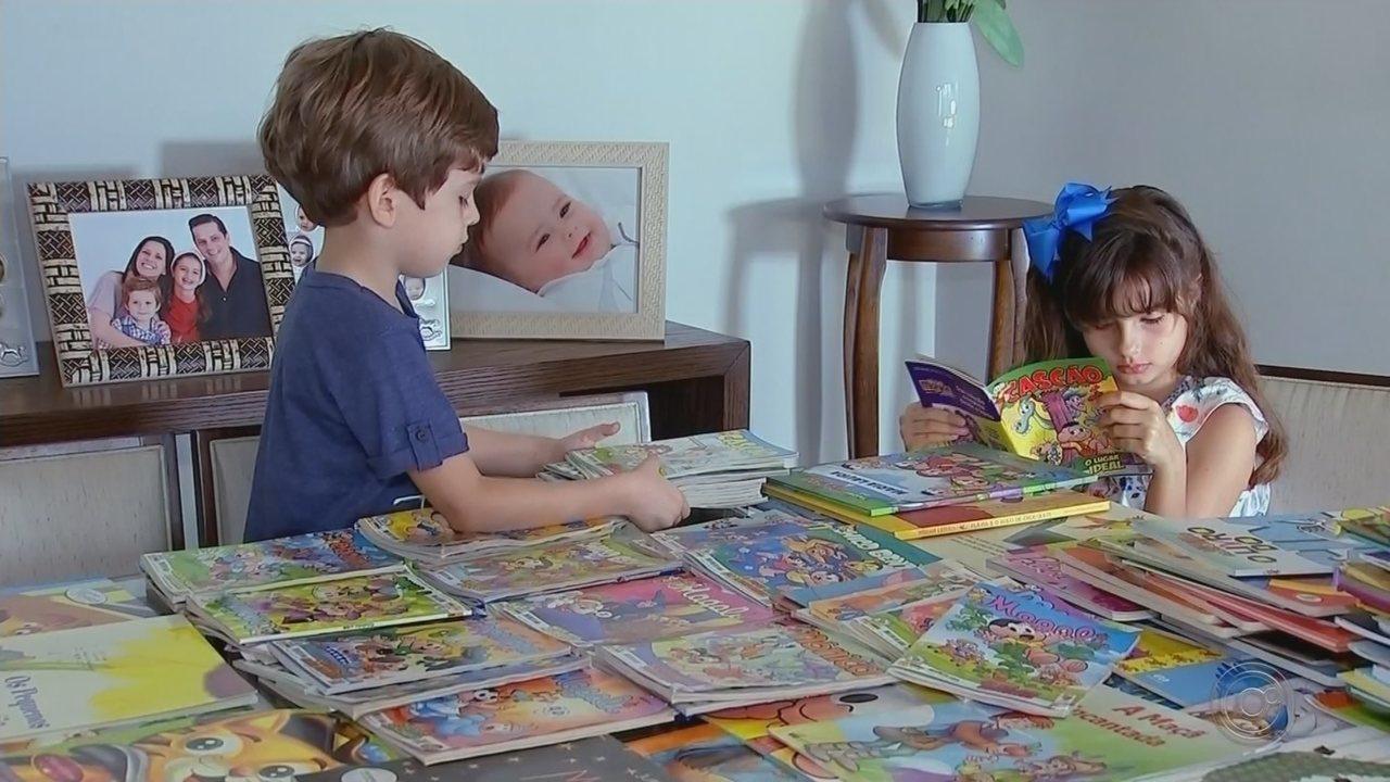 Menina de Pederneiras que já leu mais de 400 livros e gibis faz doação a biblioteca