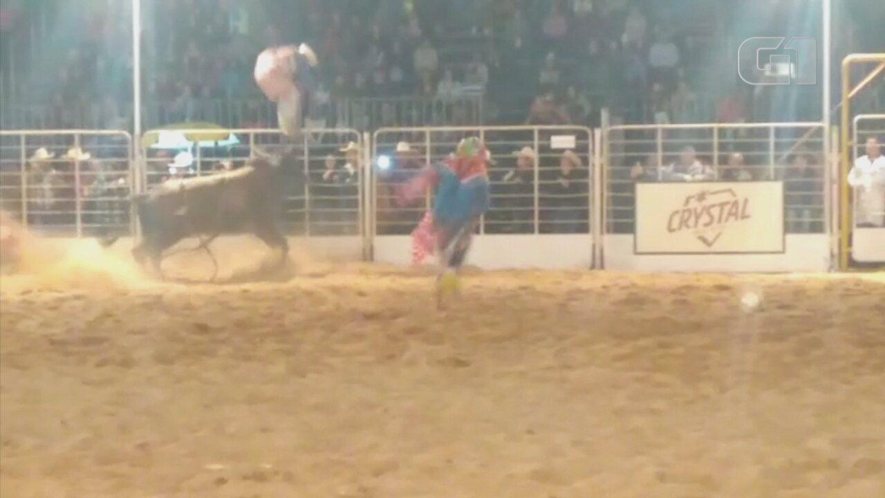 Salva-vidas de rodeio é arremessado para fora de arena por touro