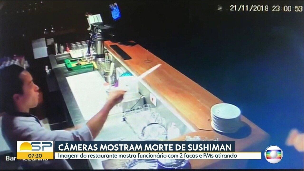 Câmeras mostram morte de sushiman