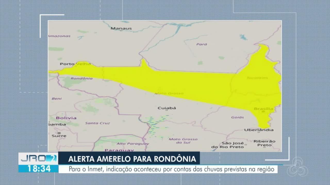 Inmet emite sinal amarelo para Rondônia por conta das previsões de chuva