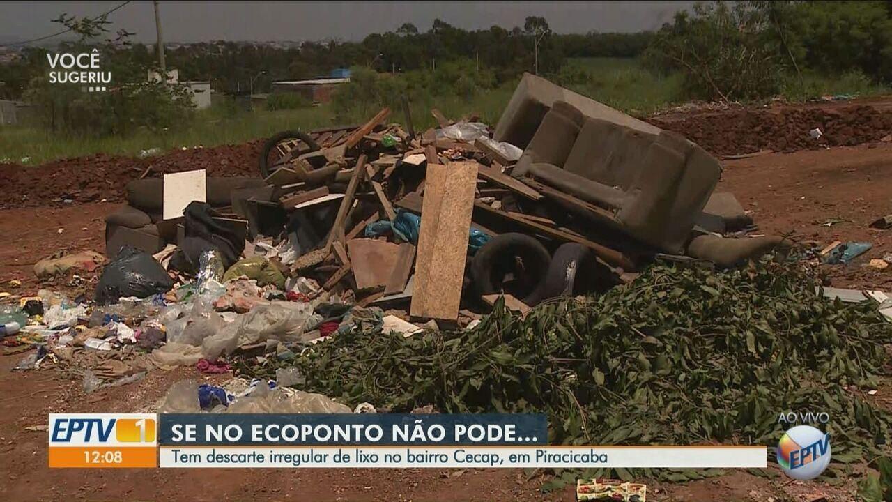 Bairro Cecap, em Piracicaba, tem descarte irregular de lixo