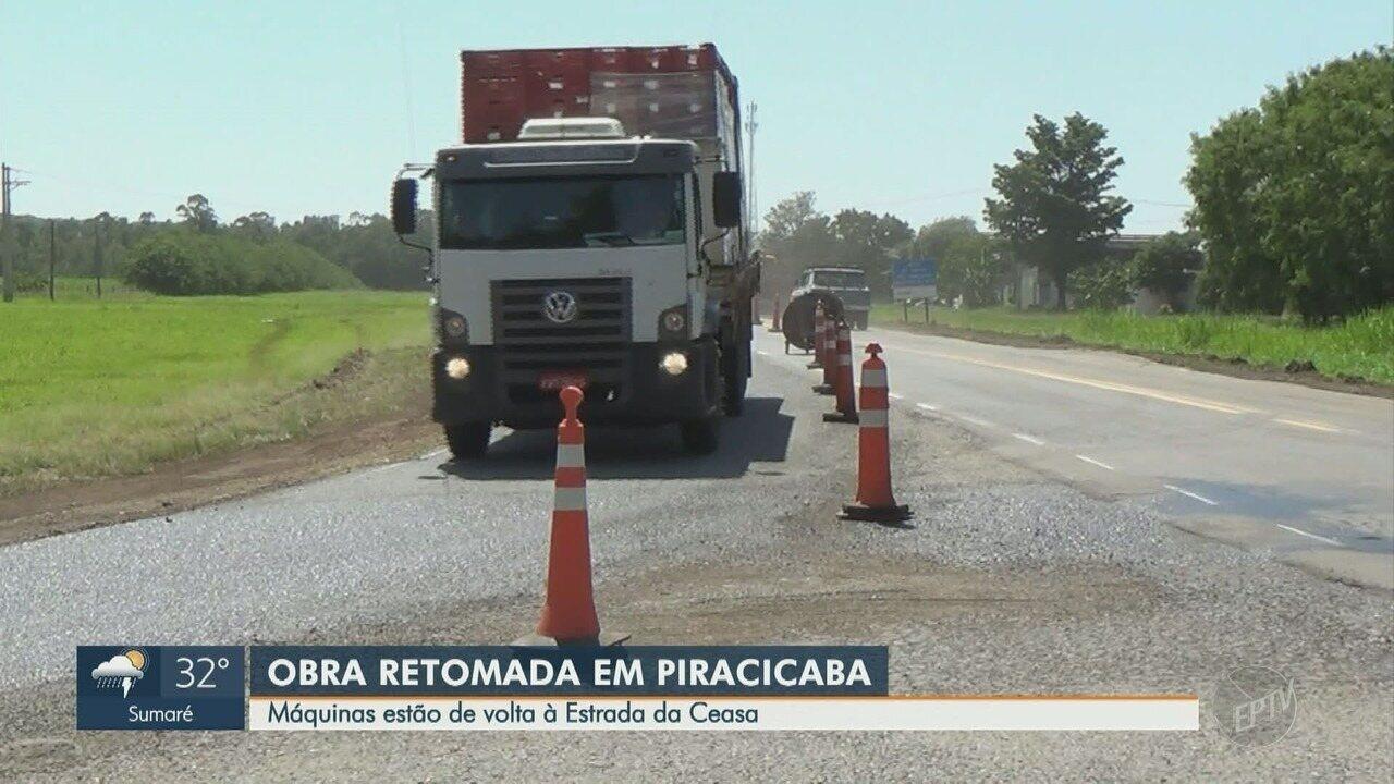 Obra na Estrada da Ceasa, em Piracicaba, é retomada