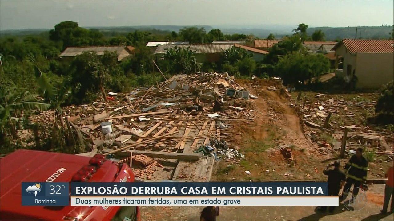 Irmãs ficam feridas em desabamento, após explosão em Cristais Paulista, SP