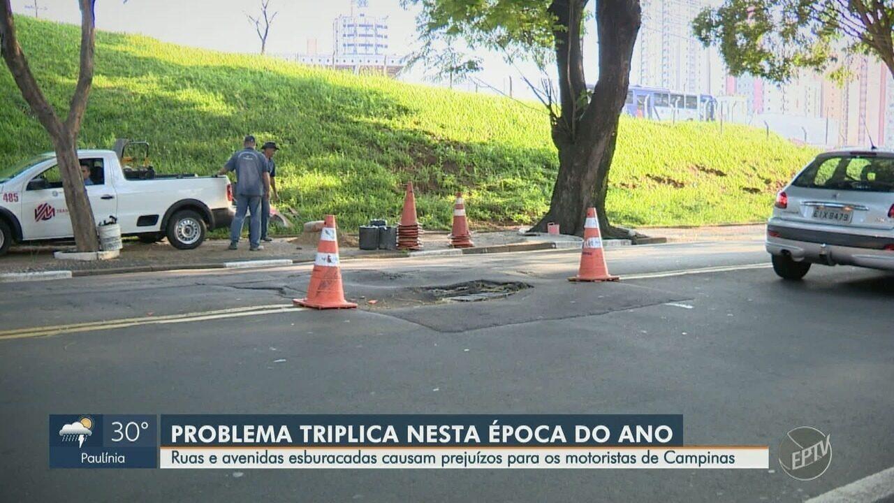 Número de buracos em ruas e avenidas triplica durante o período de chuva em Campinas