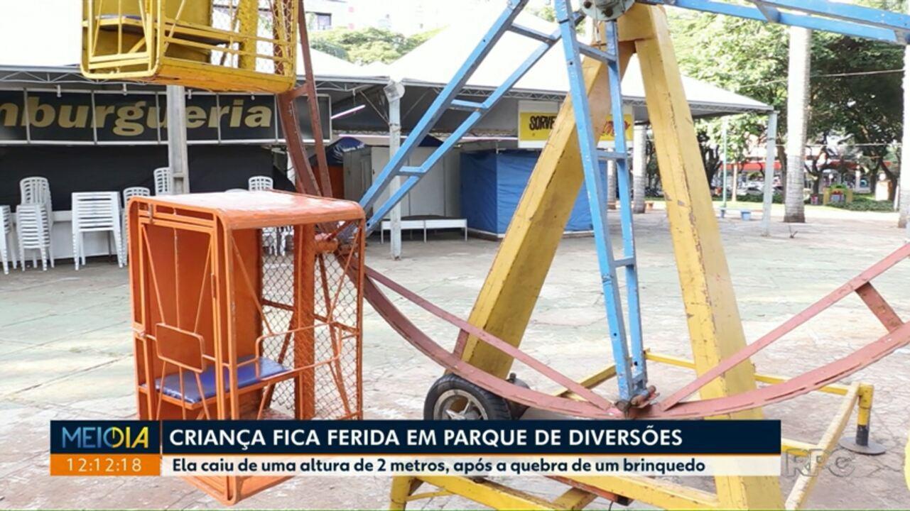Criança fica ferida em parque de diversões em Maringá
