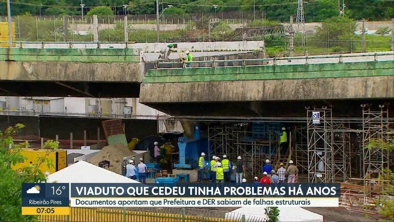 Documentos mostram que Prefeitura e DER sabiam de falhas estruturais em viaduto que cedeu