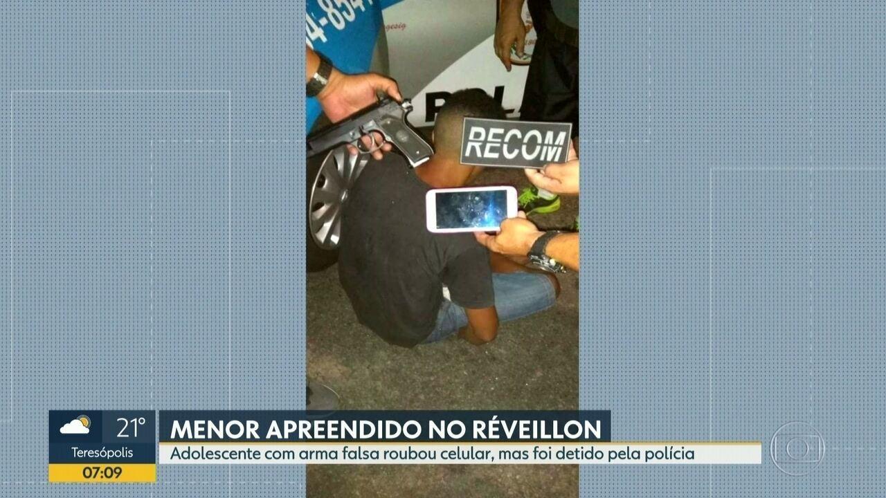 Vídeo mostra ação de assaltante menor de idade em Copacabana durante réveillon
