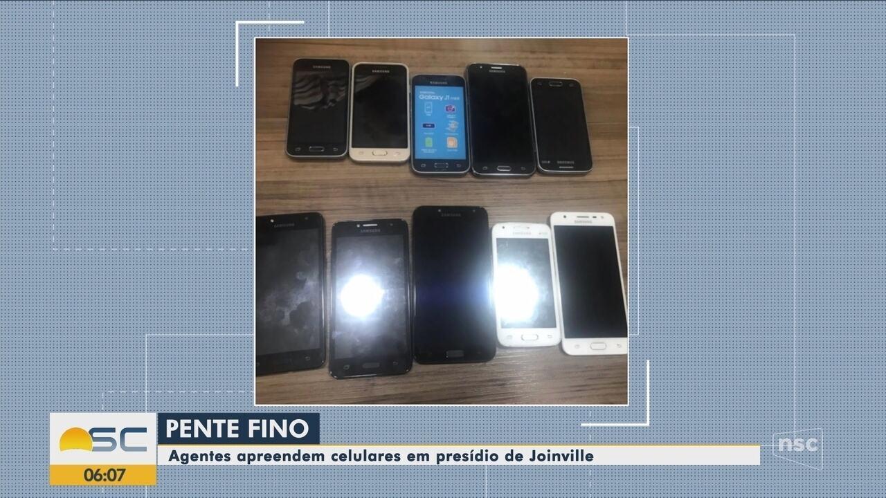 Agentes apreendem celulares escondidos em TV no presídio de Joinville