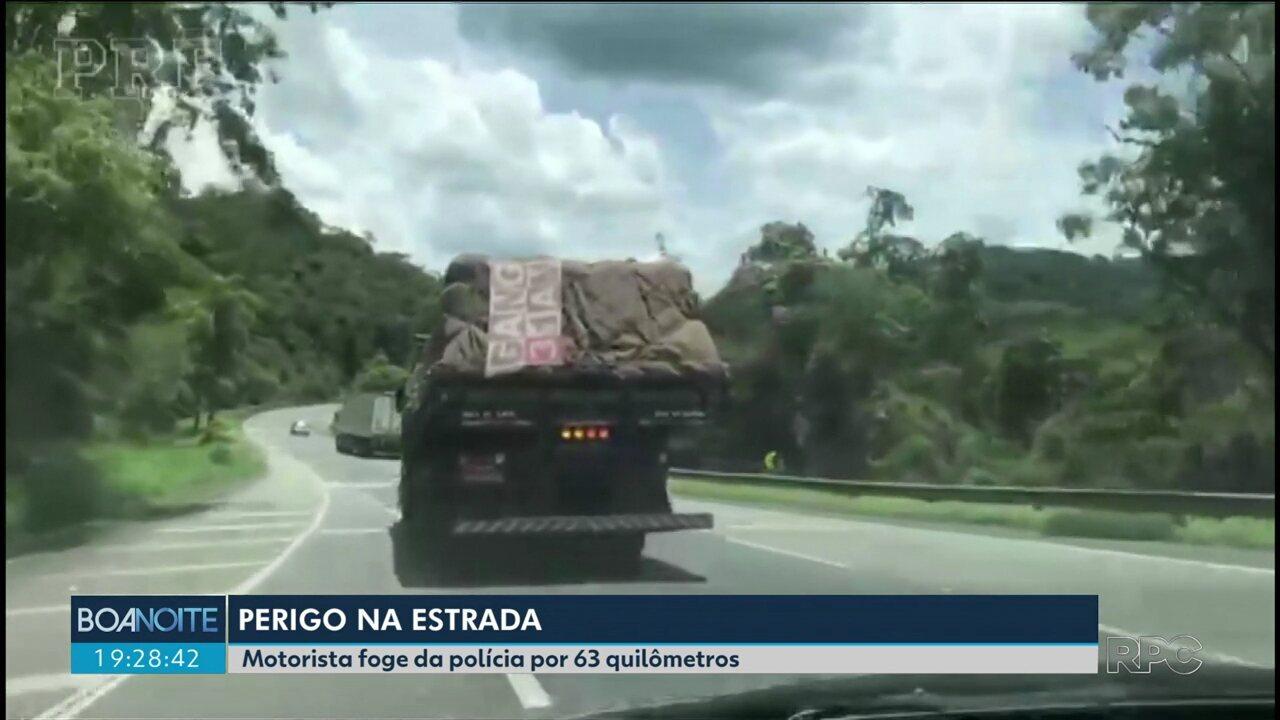 Caminhoneiro é preso depois de fugir da polícia por 63 quilômetros na BR-116