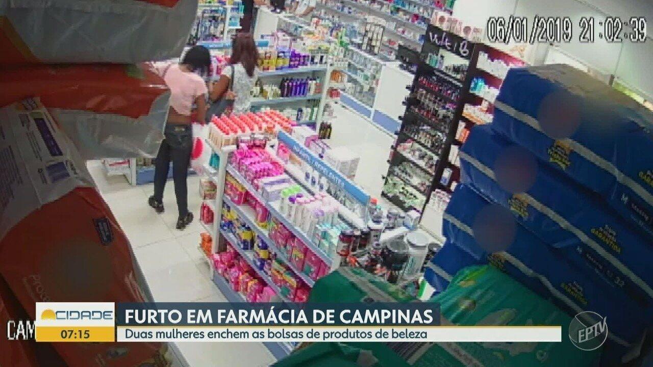 Duas mulheres furtam produtos de beleza em uma farmácia em Campinas