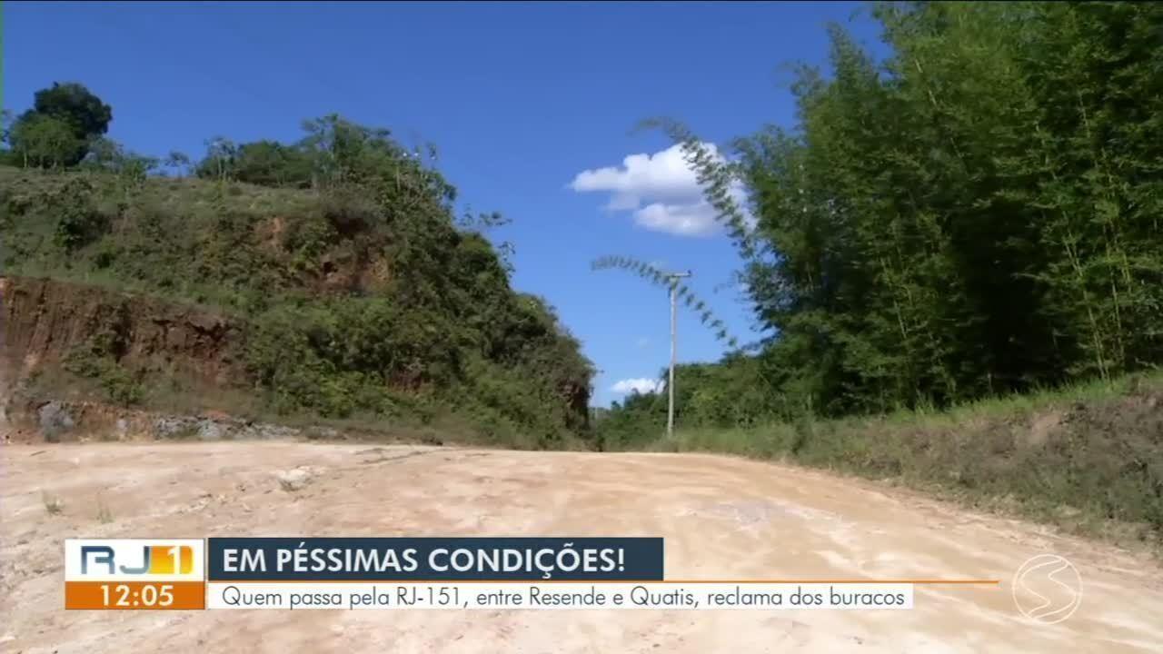 Quem passa pela RJ-151, entre Resende e Quatis, reclama de situação precária da estrada