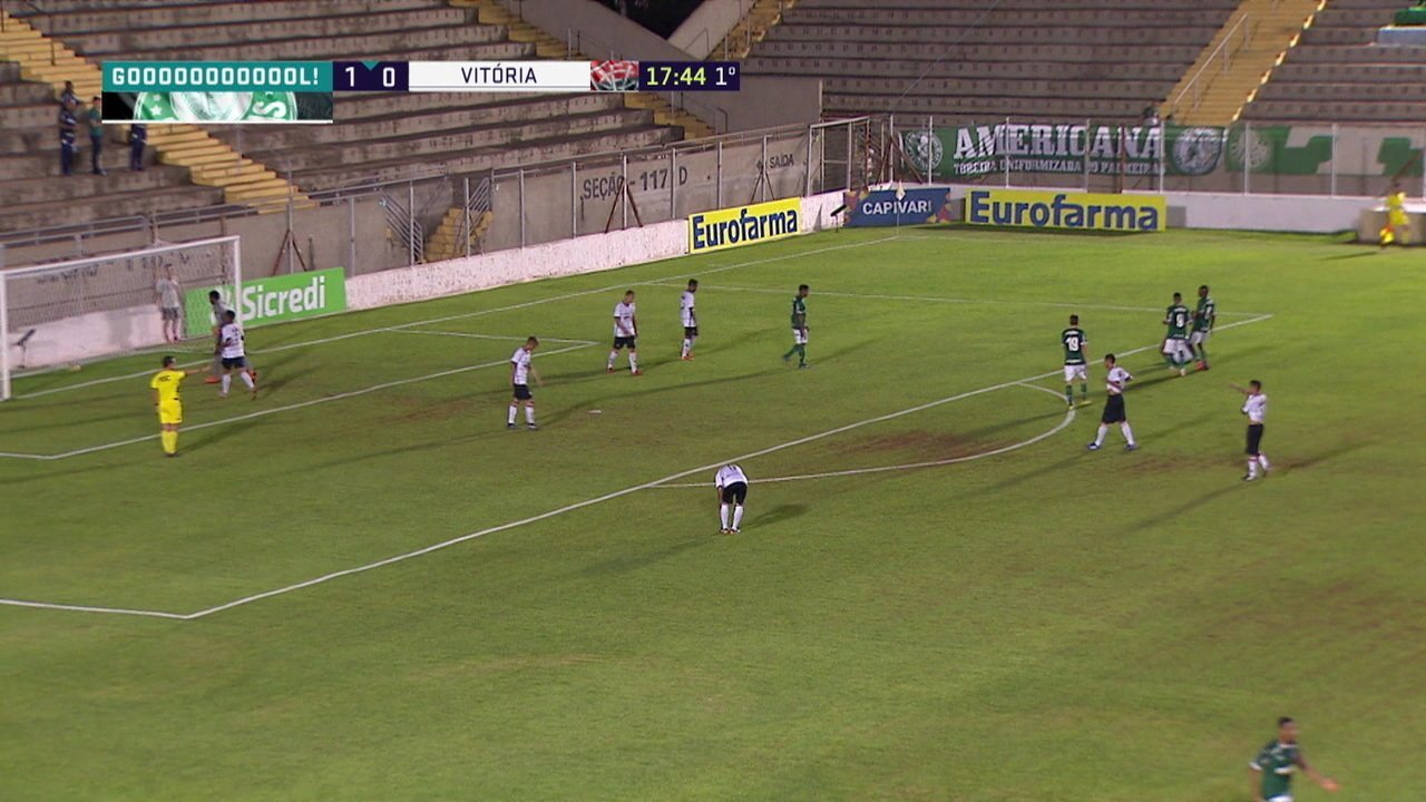 Gol do Palmeiras! Guilherme Vieira recebe boa bola e abre o placar, aos 16' do 1°T