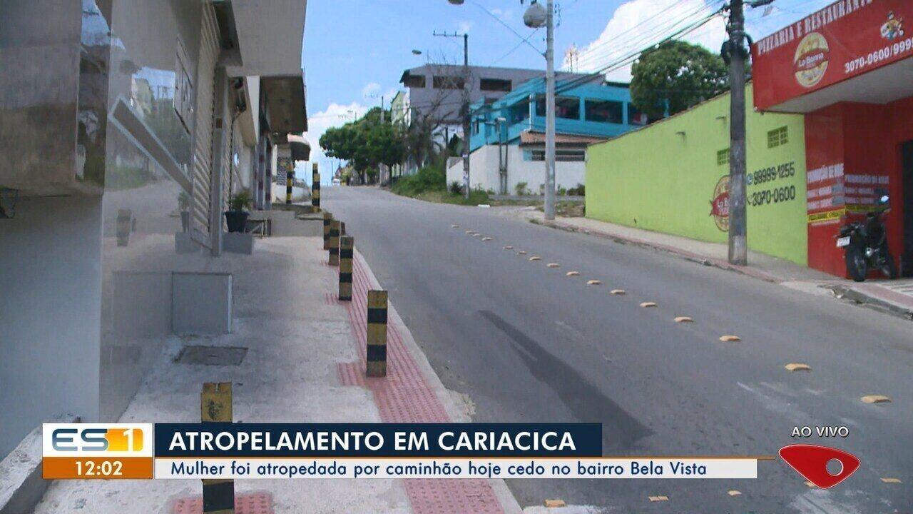 Mulher é atropelada por caminhão em Caricica, ES