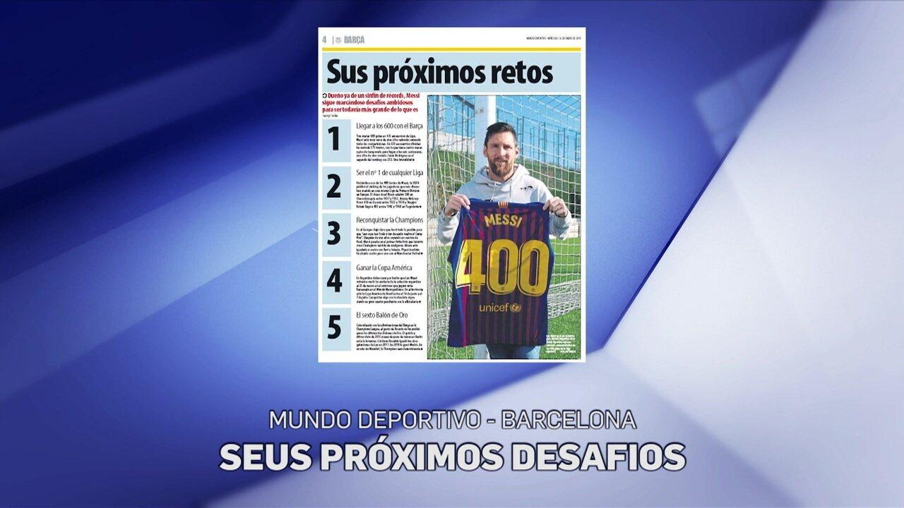 Messi completa 400 gols pelo Barcelona e diz que não esquece o primeiro, que teve passe de Ronaldinho Gaúcho