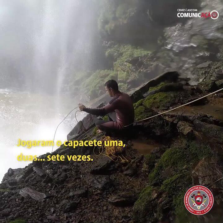 Vídeo mostra resgate de homem que ficou desaparecido em Cachoeira
