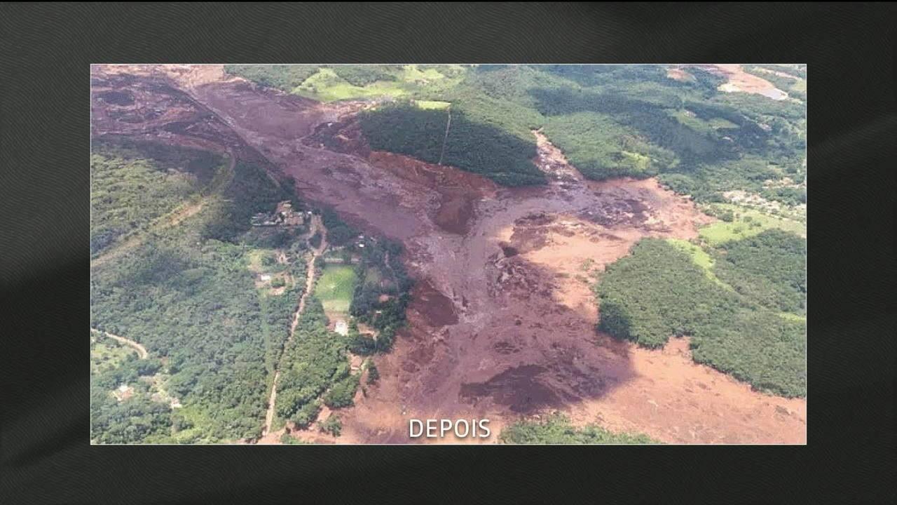 Imagens de satélite mostram o antes e depois da devastação em Brumadinho