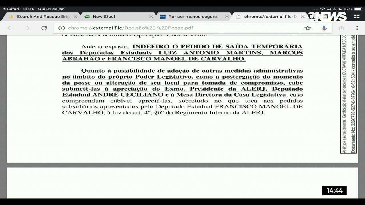 Justiça nega pedido de deputados estaduais presos para tomar posse no Rio
