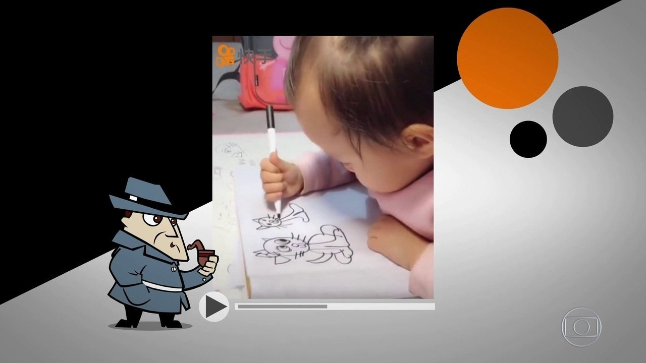 Detetive Virtual: vídeo de menina chinesa de 3 anos desenhando é verdadeiro ou falso?