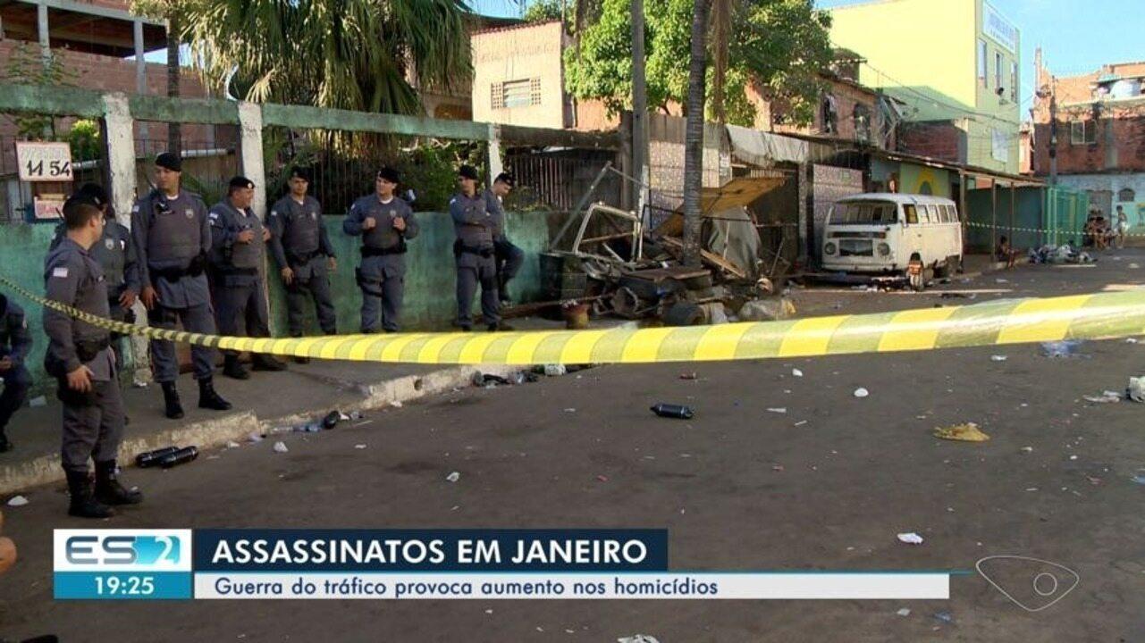 Espírito Santo tem mais de 100 assassinatos no primeiro mês do ano