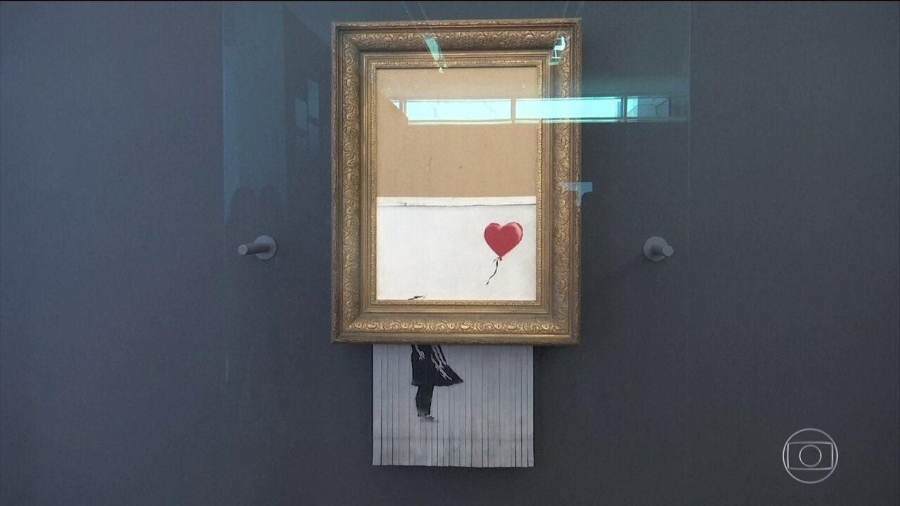 Obra de Banksy triturada durante Leilão é exposta na Alemanha