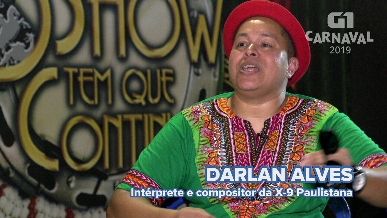 Intérprete da X-9 Paulistana fala de homenagem a Arlindo Cruz