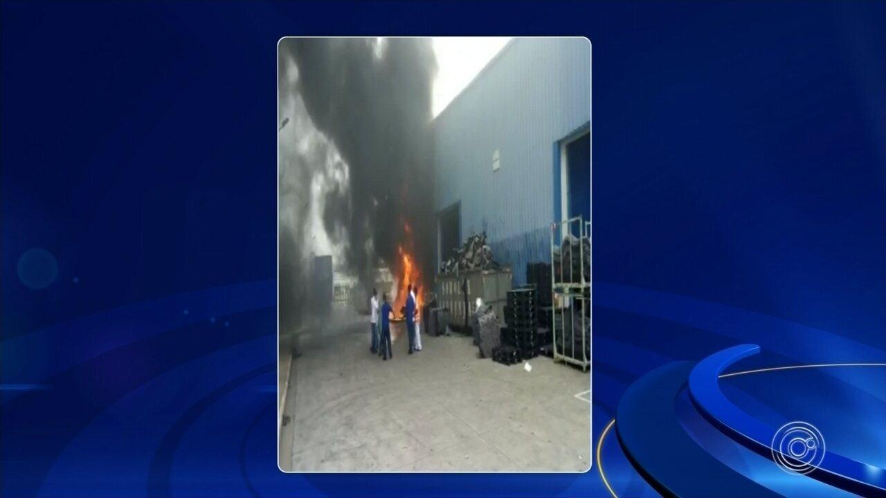Incêndio atinge empresa que fornece peças para uma montadora em Sorocaba