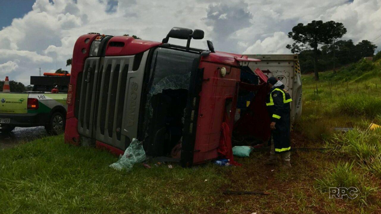 Motorista fica ferido na BR-277, em Cantagalo