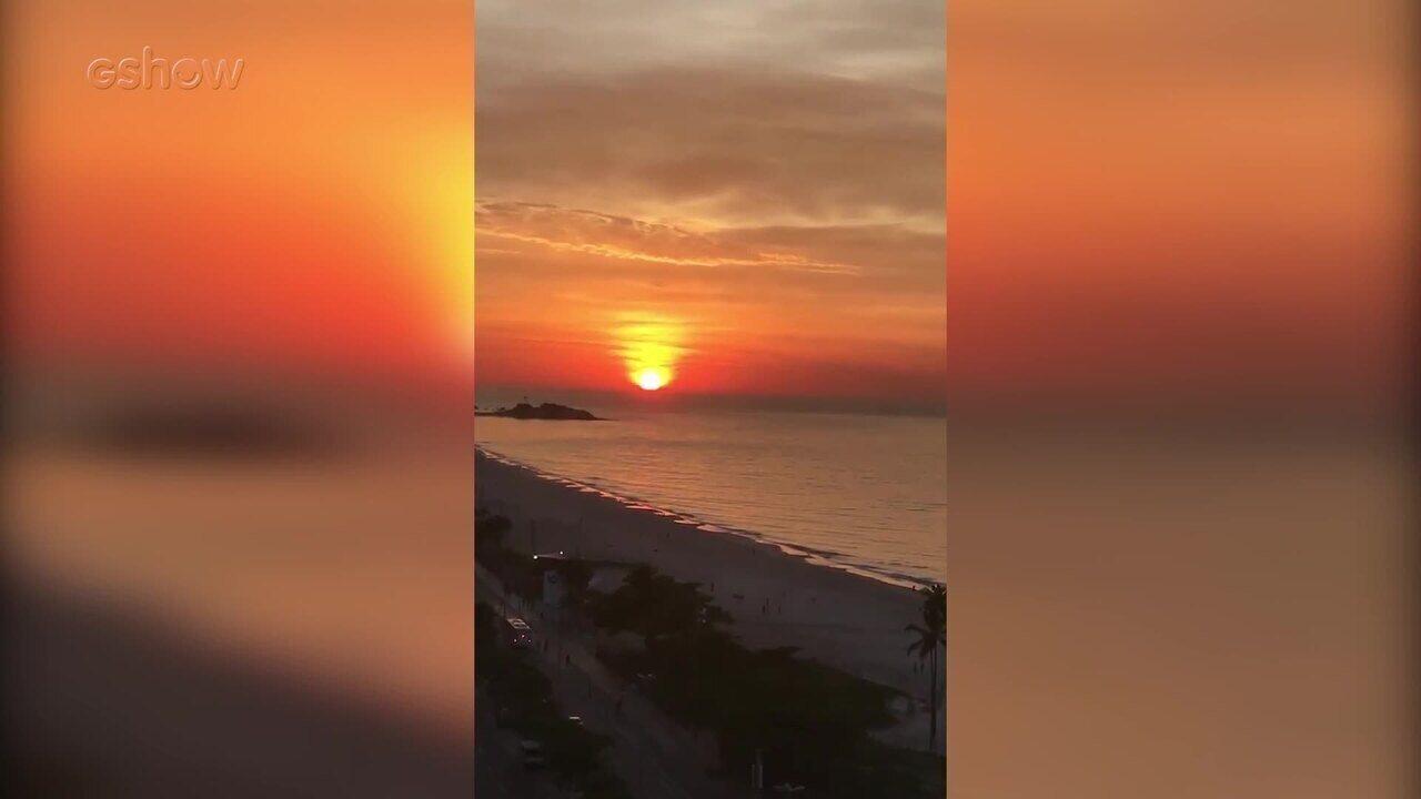 Rafael Vitti mostra amanhecer em dia de gravação na praia
