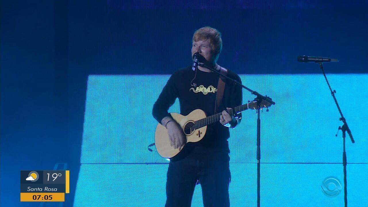 Ed Sheeran encerra turnê brasileira com show na Arena do Grêmio, em Porto Alegre