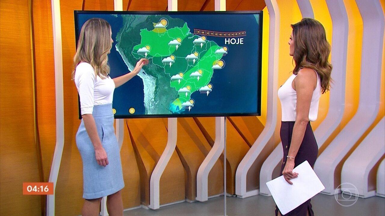 Previsão é de chuva no Centro-Oeste do país nesta quarta-feira (20)