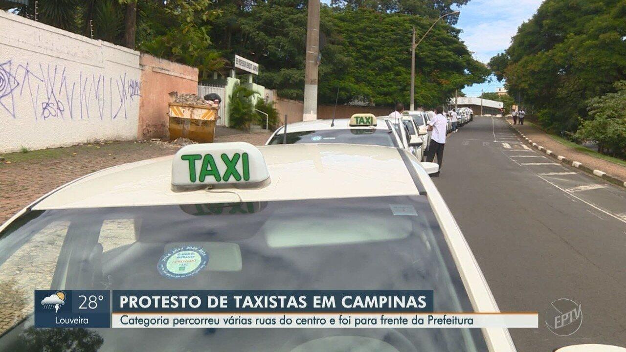 Taxistas de Campinas realizam protesto contra motoristas por aplicativo