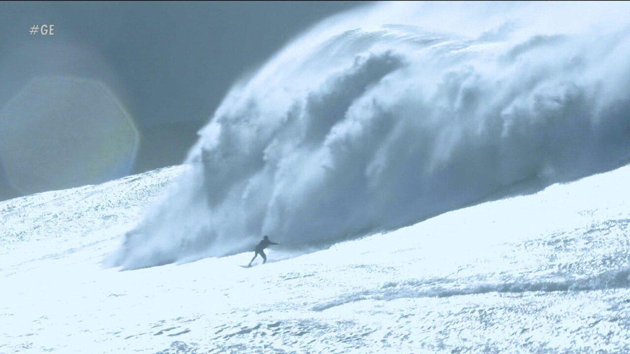 "No Esporte Espetacular, surfistas brasileiros e gringos encaram ondas ""Gigantes de Nazaré"""