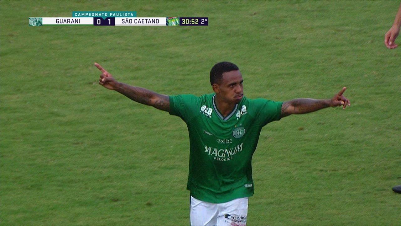 Os gols de Guarani 2 x 1 São Caetano pela 8ª rodada do Campeonato Paulista