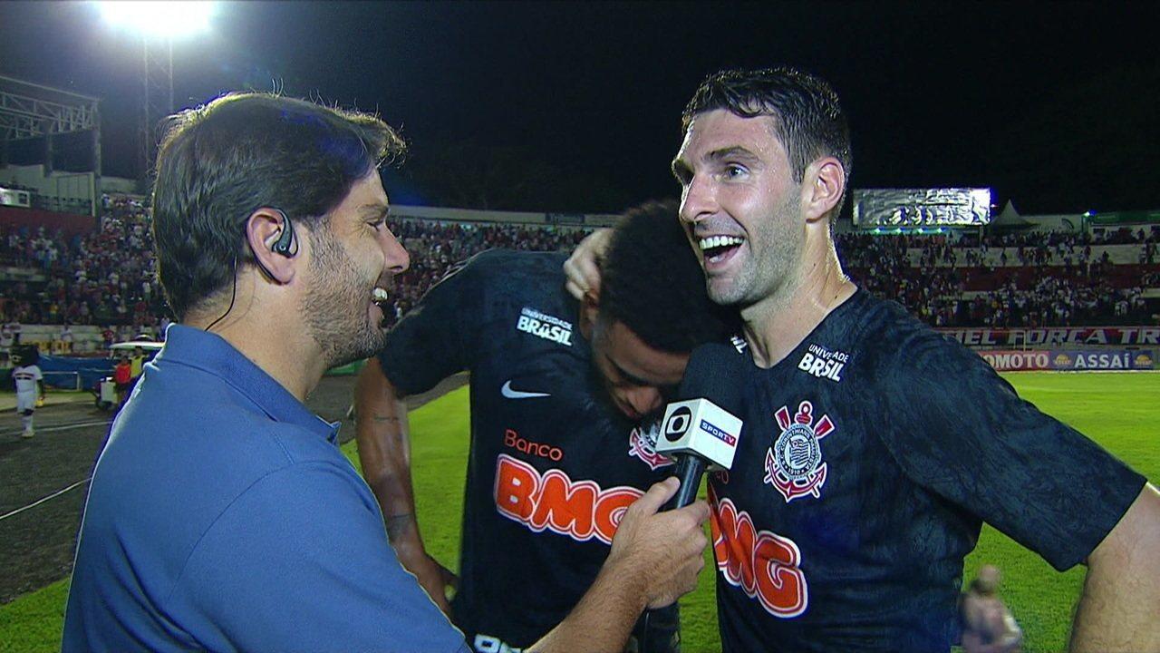 Boselli e Gustagol falam sobre parceria em campo que deu a vitória ao Corinthians sobre o Botafogo-SP