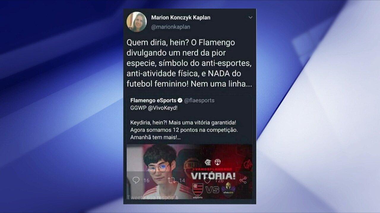 Comentaristas discutem ofensas de uma conselheira do Flamengo ao time de LoL do clube