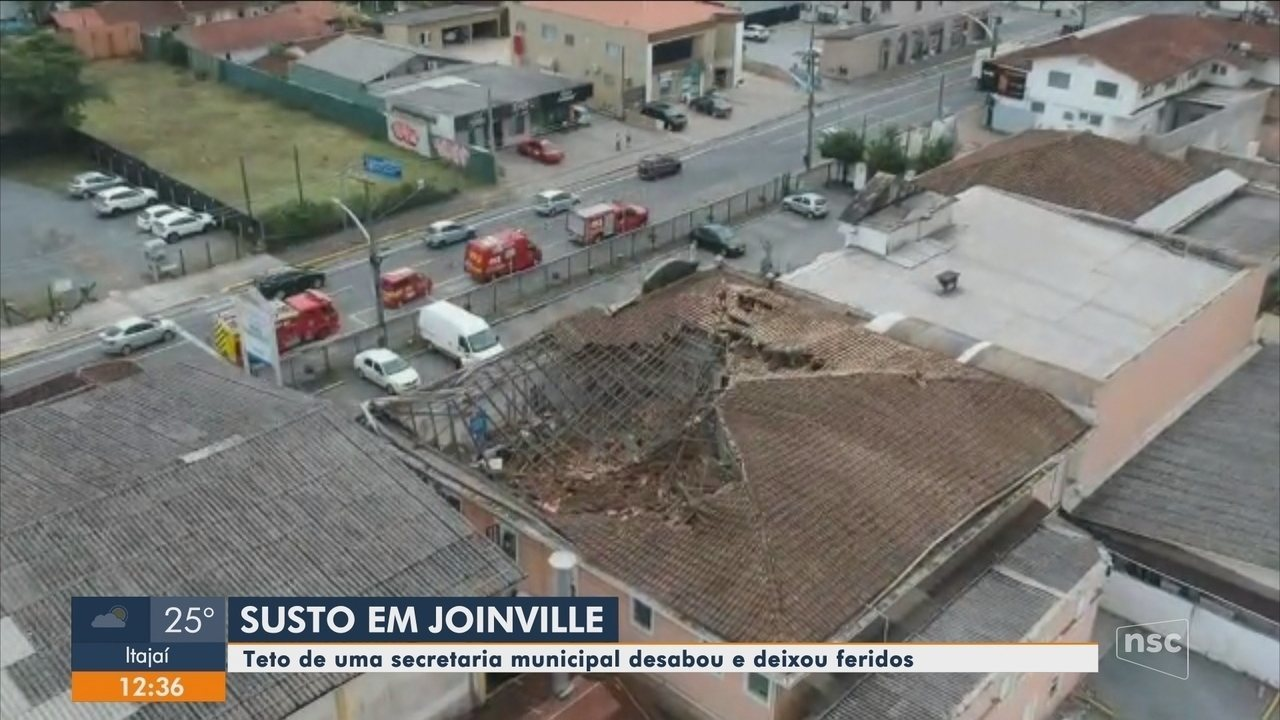 Teto de prédio da Secretaria de Agricultura e Meio Ambiente de Joinville desaba