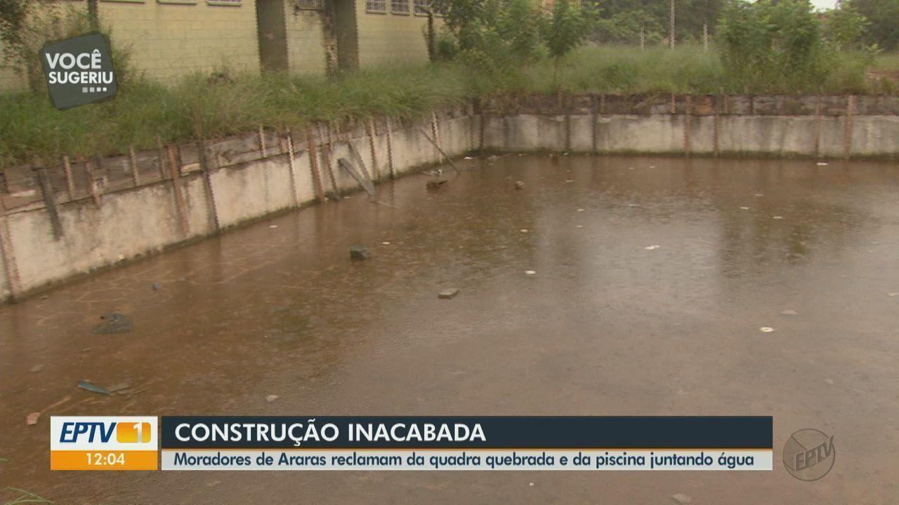 Moradores de Araras reclamam de obra de área lazer que está parada há cinco anos