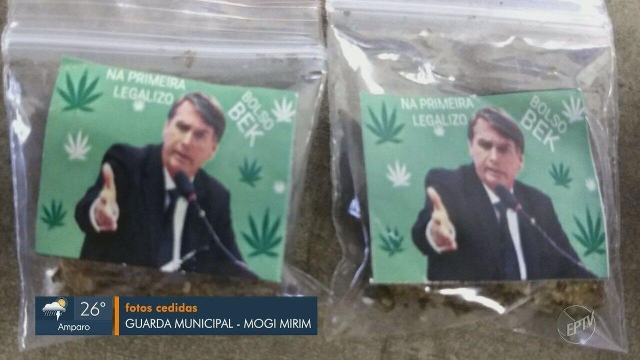 GM de Mogi Mirim apreende maconha com a foto de Jair Bolsonaro