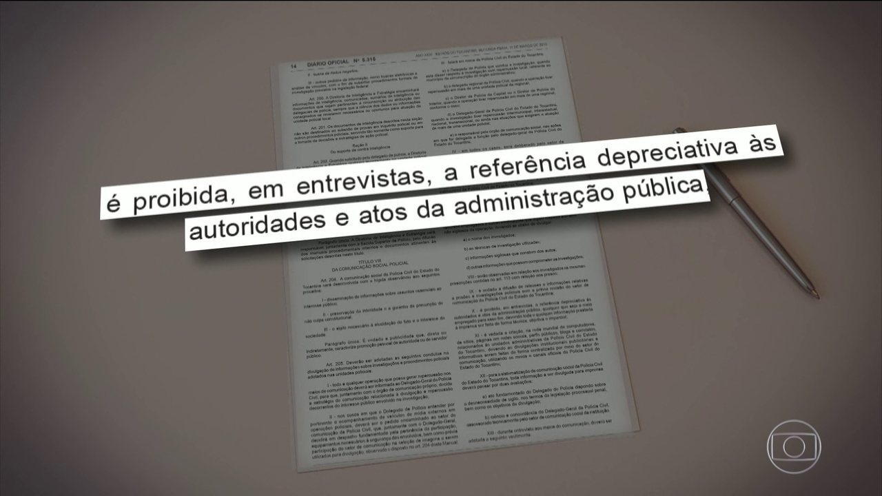 Tocantins proíbe delegados de polícia de criticar autoridades e atos do governo