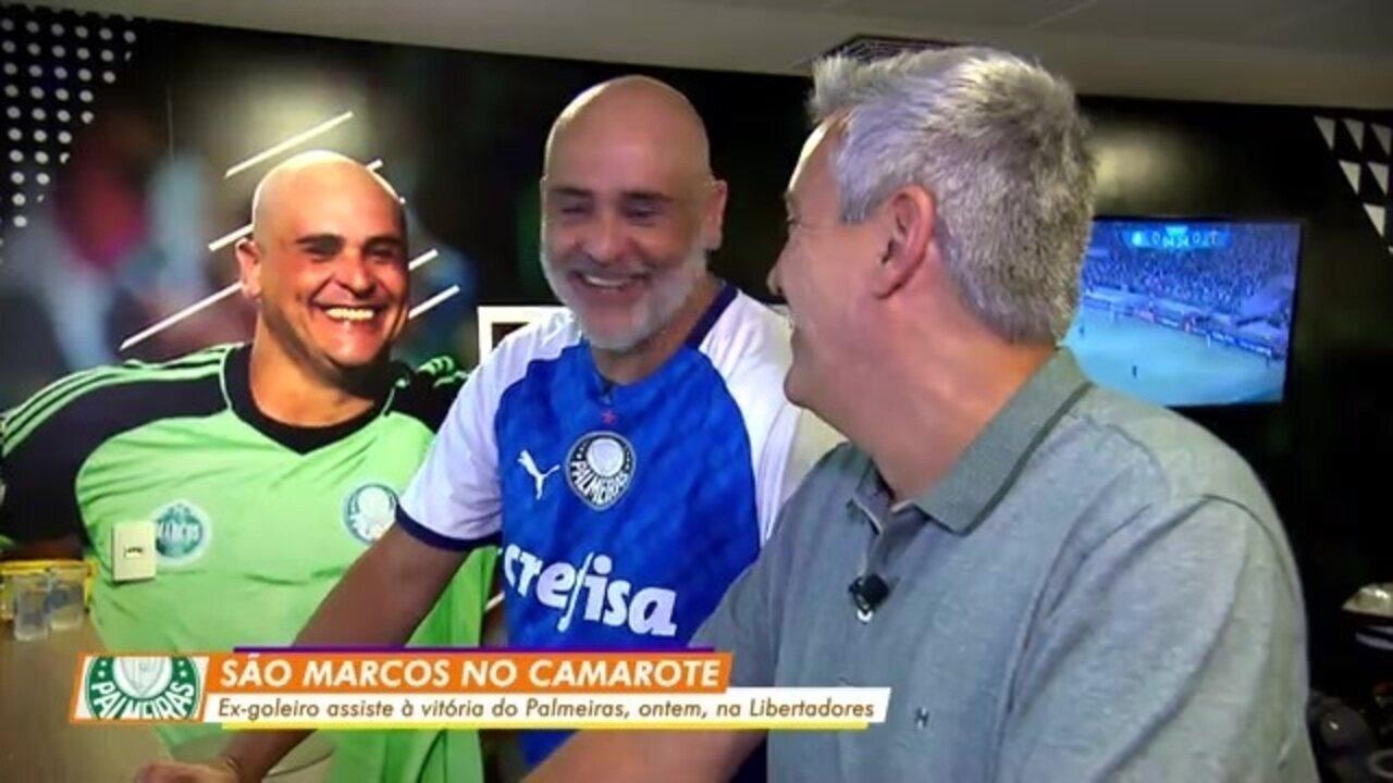 Marcos acompanhou de camarote a vitória do Palmeiras; Felipe Melo abriu o placar